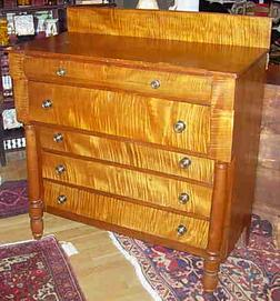Lake Champlain Region, Empire Period Tiger Maple And Cherry Bureau With Six  Drawers, Circa 1820 1840 From Western Vermont Or New York State.